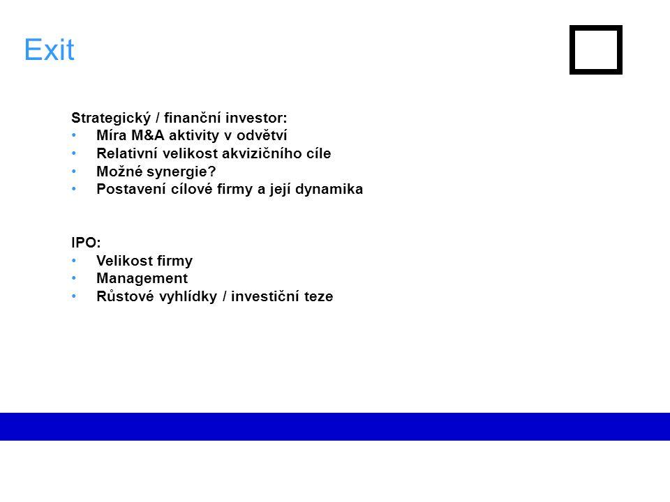 Exit Strategický / finanční investor: Míra M&A aktivity v odvětví Relativní velikost akvizičního cíle Možné synergie.