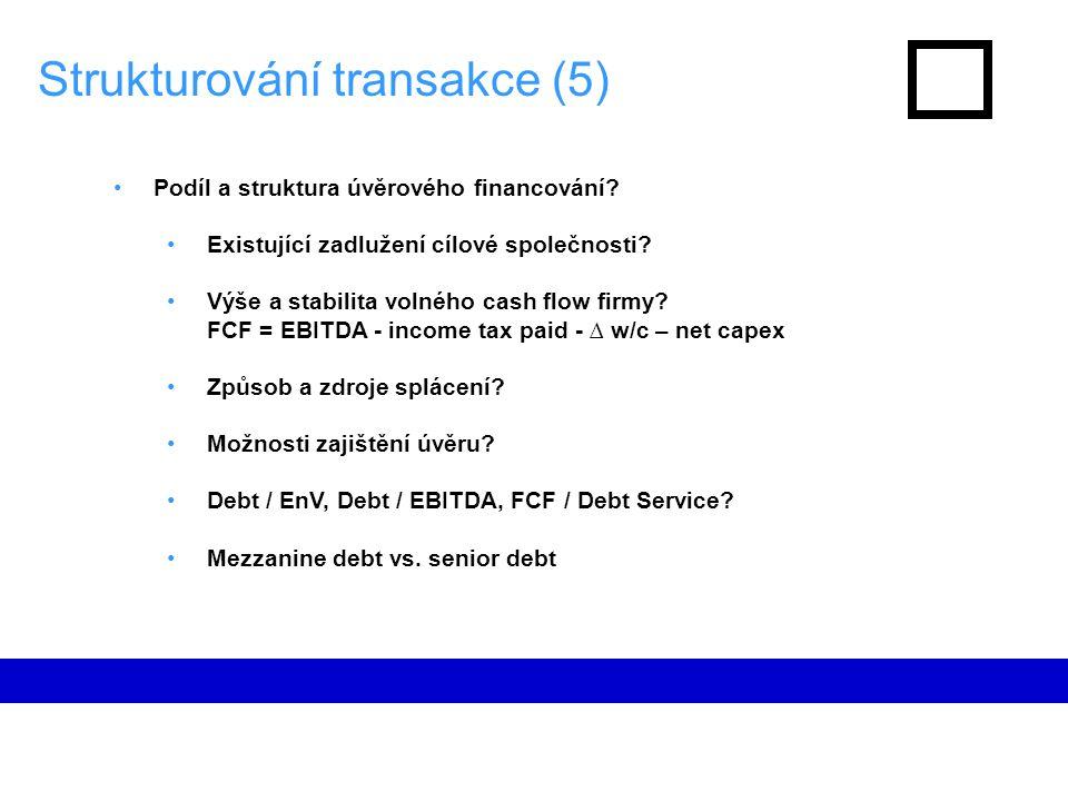 Strukturování transakce (5) Podíl a struktura úvěrového financování.