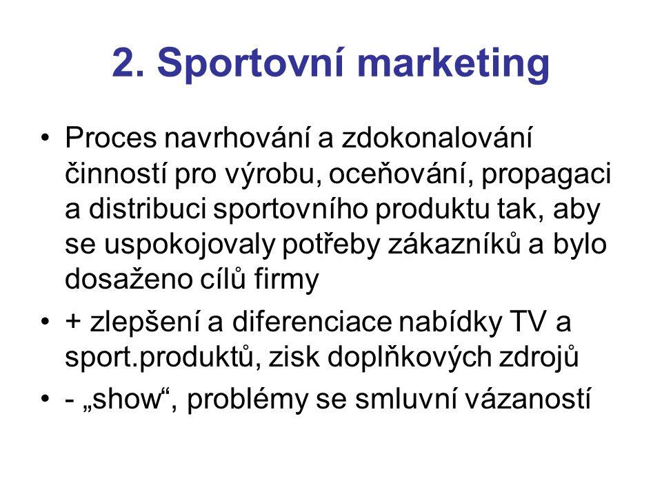 2. Sportovní marketing Proces navrhování a zdokonalování činností pro výrobu, oceňování, propagaci a distribuci sportovního produktu tak, aby se uspok