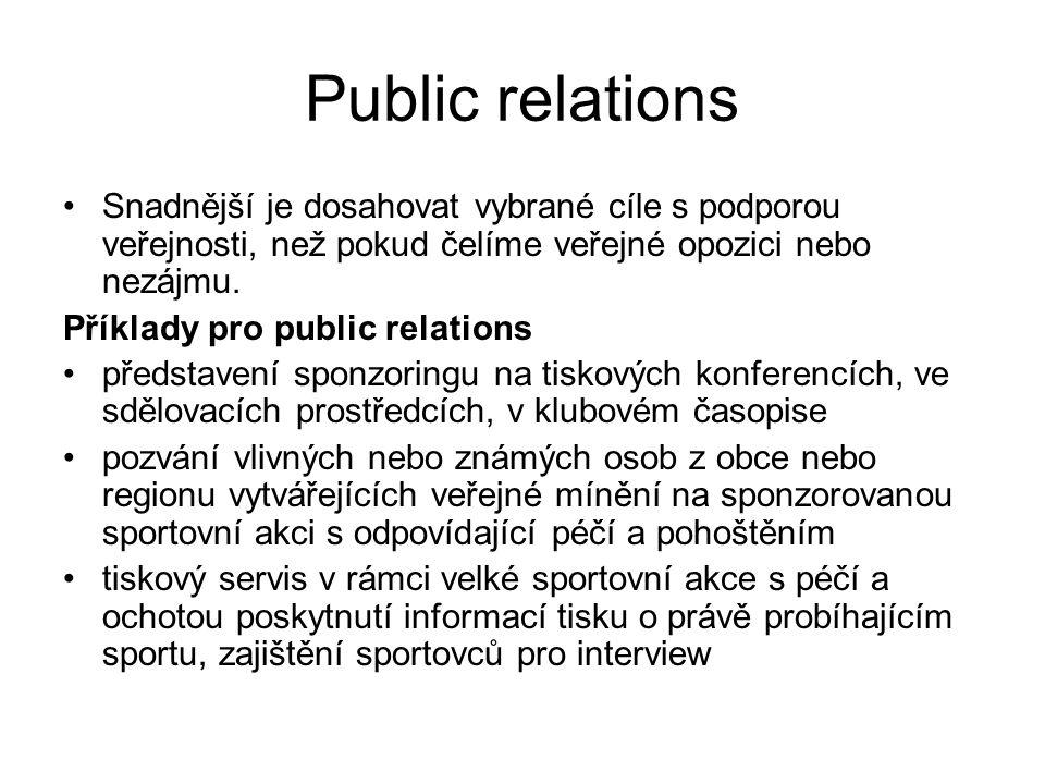 Public relations Snadnější je dosahovat vybrané cíle s podporou veřejnosti, než pokud čelíme veřejné opozici nebo nezájmu. Příklady pro public relatio