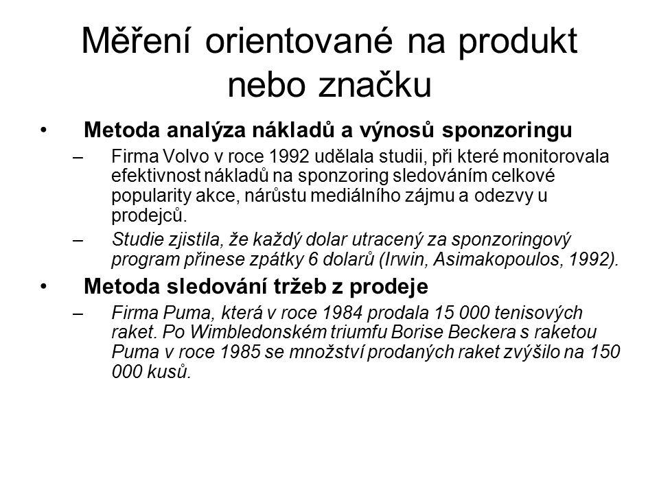 Měření orientované na produkt nebo značku Metoda analýza nákladů a výnosů sponzoringu –Firma Volvo v roce 1992 udělala studii, při které monitorovala