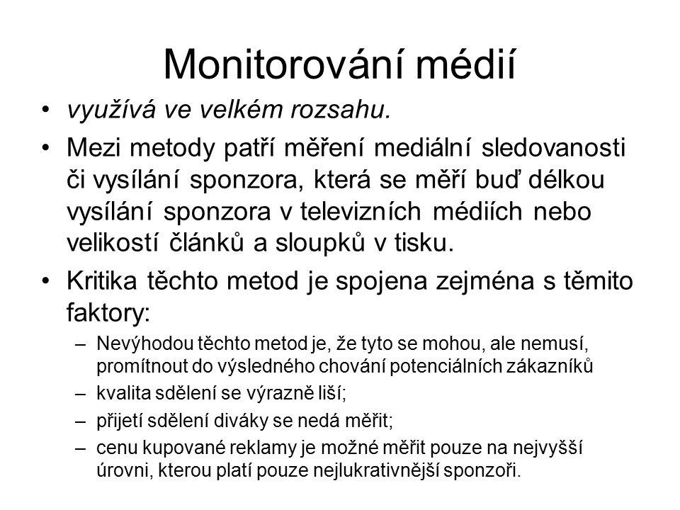 Monitorování médií využívá ve velkém rozsahu. Mezi metody patří měření mediální sledovanosti či vysílání sponzora, která se měří buď délkou vysílání s