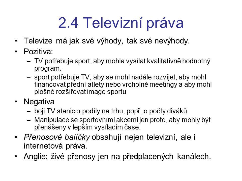2.4 Televizní práva Televize má jak své výhody, tak své nevýhody. Pozitiva: –TV potřebuje sport, aby mohla vysílat kvalitativně hodnotný program. –spo