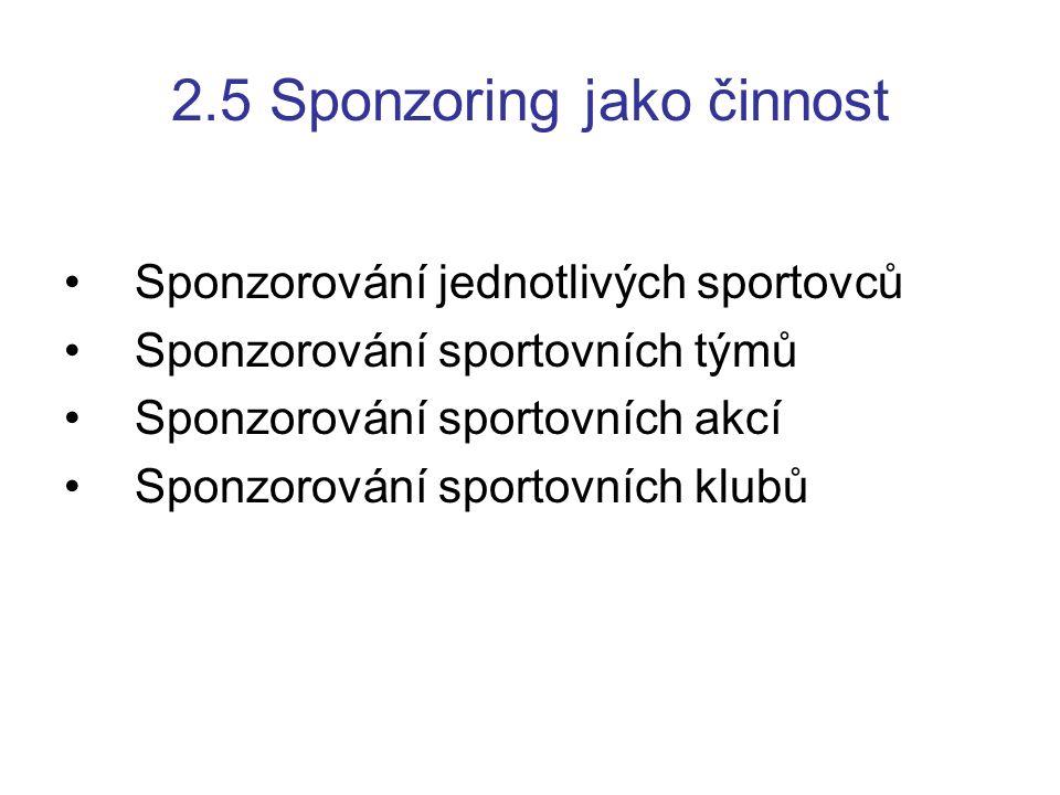 2.5 Sponzoring jako činnost Sponzorování jednotlivých sportovců Sponzorování sportovních týmů Sponzorování sportovních akcí Sponzorování sportovních k