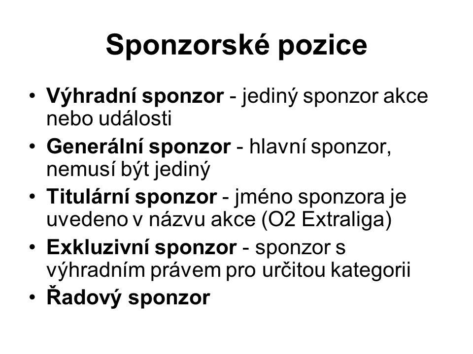 Sponzorské pozice Výhradní sponzor - jediný sponzor akce nebo události Generální sponzor - hlavní sponzor, nemusí být jediný Titulární sponzor - jméno