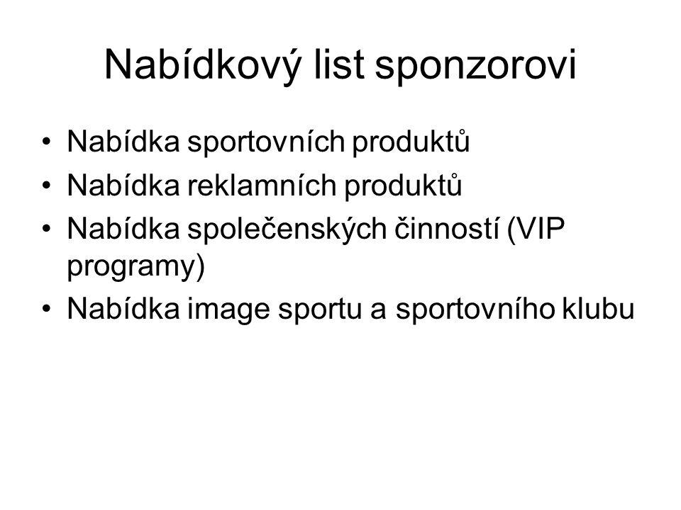 Nabídkový list sponzorovi Nabídka sportovních produktů Nabídka reklamních produktů Nabídka společenských činností (VIP programy) Nabídka image sportu