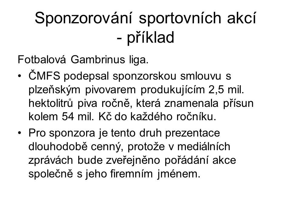 Sponzorování sportovních akcí - příklad Fotbalová Gambrinus liga. ČMFS podepsal sponzorskou smlouvu s plzeňským pivovarem produkujícím 2,5 mil. hektol