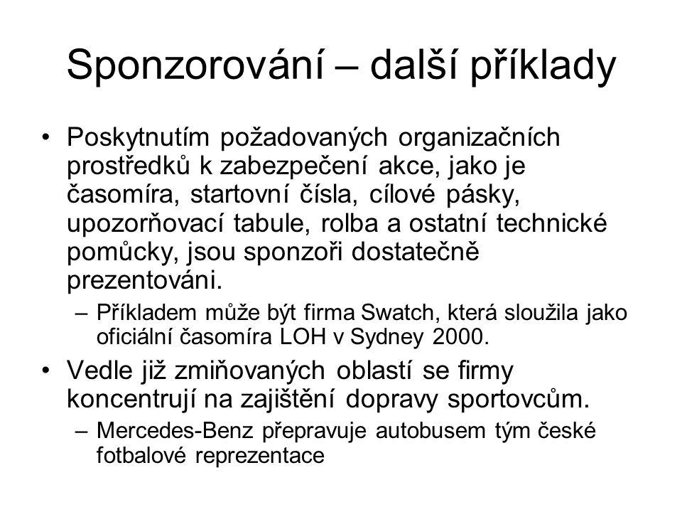 Sponzorování – další příklady Poskytnutím požadovaných organizačních prostředků k zabezpečení akce, jako je časomíra, startovní čísla, cílové pásky, u