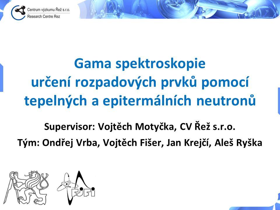 Gama spektroskopie určení rozpadových prvků pomocí tepelných a epitermálních neutronů Supervisor: Vojtěch Motyčka, CV Řež s.r.o. Tým: Ondřej Vrba, Voj