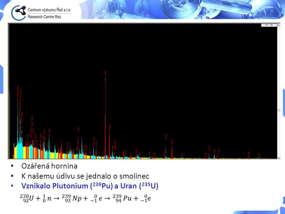 Ozářená hornina K našemu údivu se jednalo o smolinec Vznikalo Plutonium ( 239 Pu) a Uran ( 235 U)