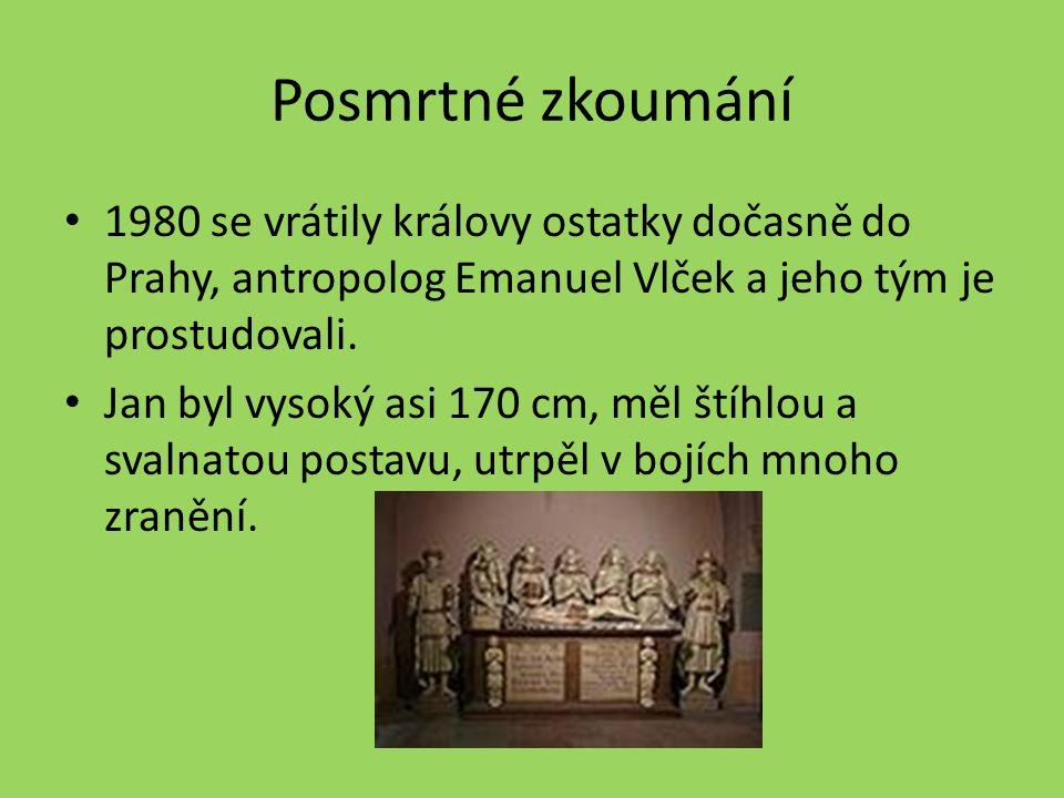 Posmrtné zkoumání 1980 se vrátily královy ostatky dočasně do Prahy, antropolog Emanuel Vlček a jeho tým je prostudovali.