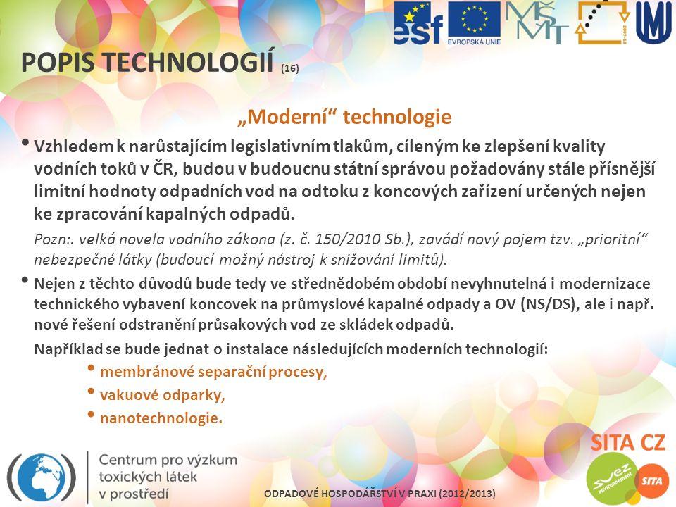 """ODPADOVÉ HOSPODÁŘSTVÍ V PRAXI (2012/2013) POPIS TECHNOLOGIÍ (16) """"Moderní"""" technologie Vzhledem k narůstajícím legislativním tlakům, cíleným ke zlepše"""