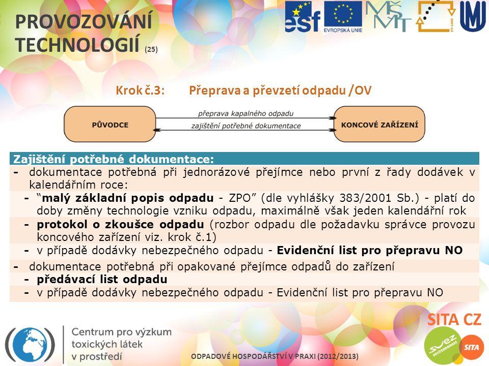 ODPADOVÉ HOSPODÁŘSTVÍ V PRAXI (2012/2013) PROVOZOVÁNÍ TECHNOLOGIÍ (25) Krok č.3: Přeprava a převzetí odpadu /OV Zajištění potřebné dokumentace: -dokum