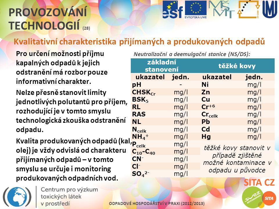ODPADOVÉ HOSPODÁŘSTVÍ V PRAXI (2012/2013) PROVOZOVÁNÍ TECHNOLOGIÍ (28) Kvalitativní charakteristika přijímaných a produkovaných odpadů Neutralizační a