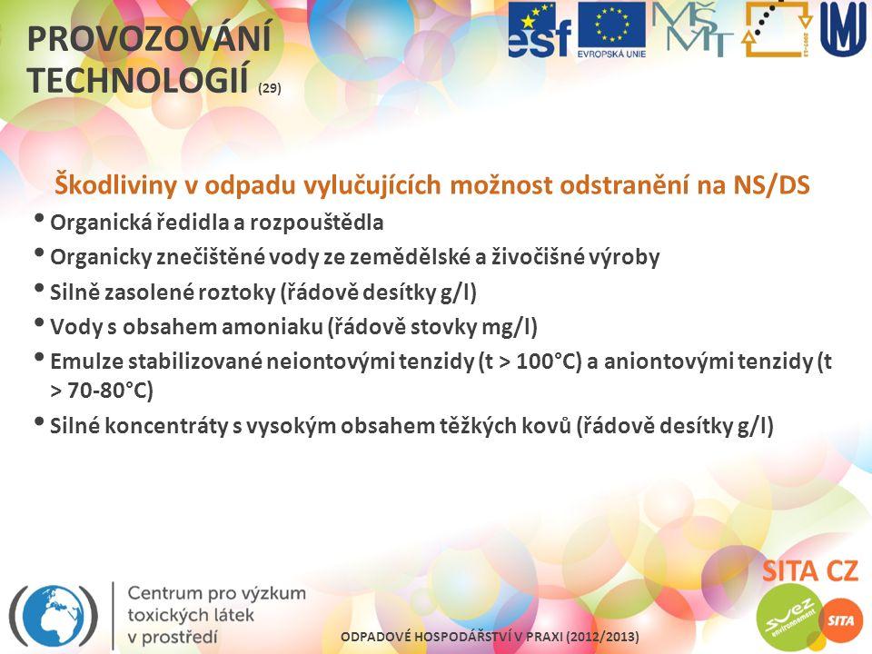 ODPADOVÉ HOSPODÁŘSTVÍ V PRAXI (2012/2013) PROVOZOVÁNÍ TECHNOLOGIÍ (29) Škodliviny v odpadu vylučujících možnost odstranění na NS/DS Organická ředidla