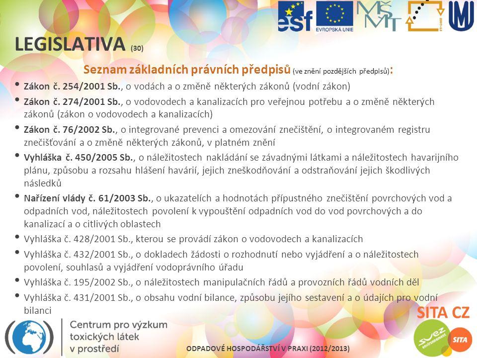 ODPADOVÉ HOSPODÁŘSTVÍ V PRAXI (2012/2013) LEGISLATIVA (30) Seznam základních právních předpisů (ve znění pozdějších předpisů) : Zákon č. 254/2001 Sb.,