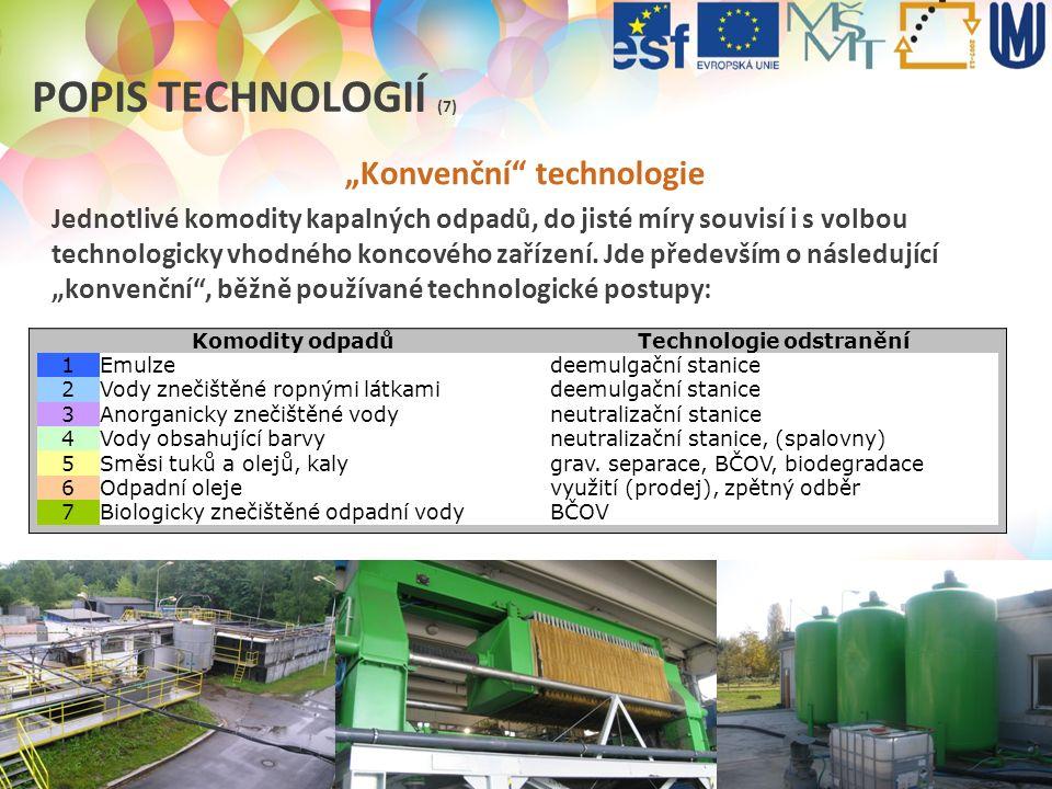 """ODPADOVÉ HOSPODÁŘSTVÍ V PRAXI (2012/2013) POPIS TECHNOLOGIÍ (7) """"Konvenční"""" technologie Jednotlivé komodity kapalných odpadů, do jisté míry souvisí i"""