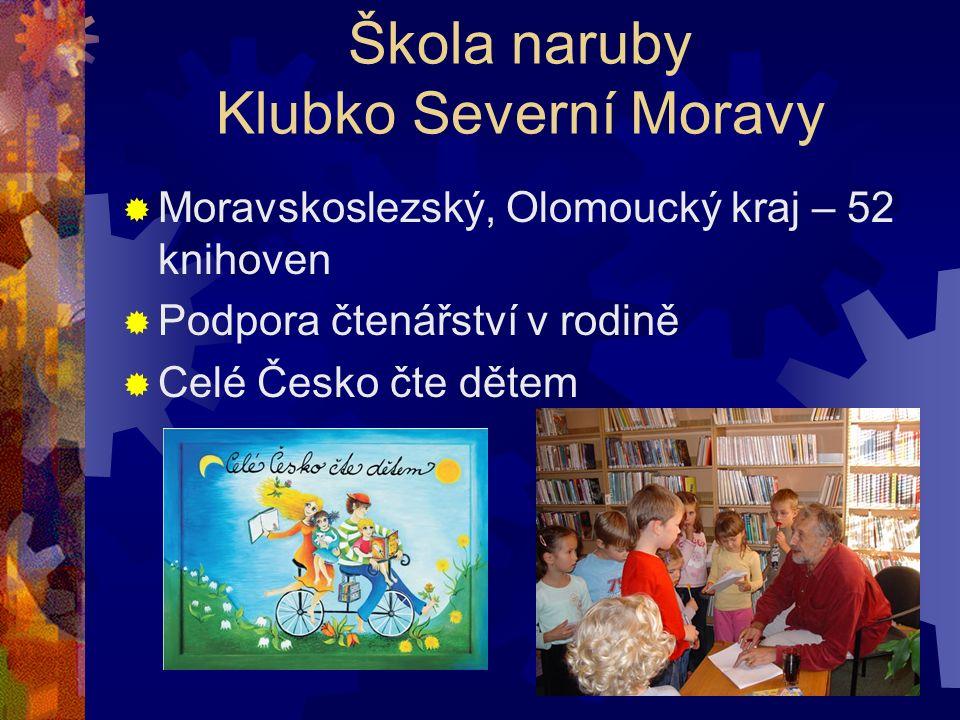 Škola naruby Klubko Severní Moravy  Moravskoslezský, Olomoucký kraj – 52 knihoven  Podpora čtenářství v rodině  Celé Česko čte dětem