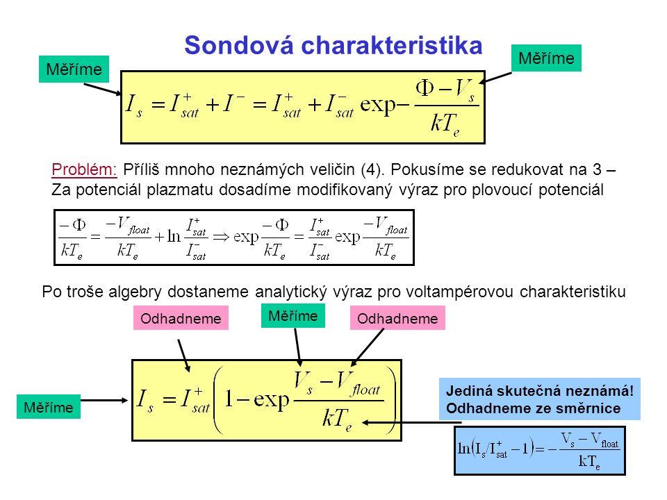 Sondová charakteristika Měříme Po troše algebry dostaneme analytický výraz pro voltampérovou charakteristiku Měříme Problém: Příliš mnoho neznámých veličin (4).