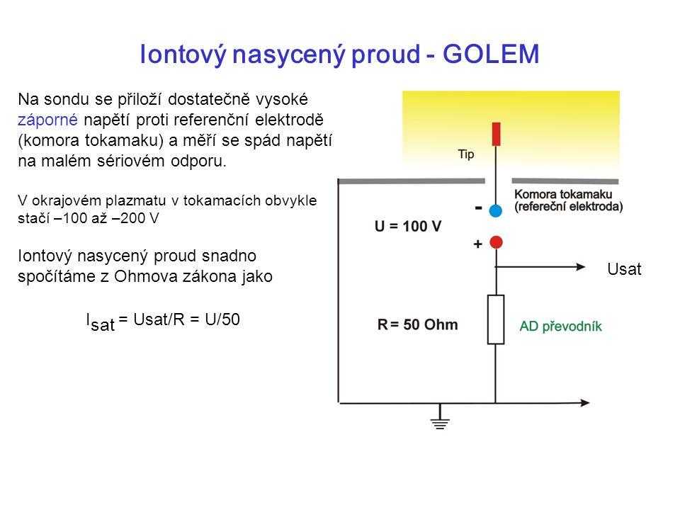 Iontový nasycený proud - GOLEM Na sondu se přiloží dostatečně vysoké záporné napětí proti referenční elektrodě (komora tokamaku) a měří se spád napětí na malém sériovém odporu.