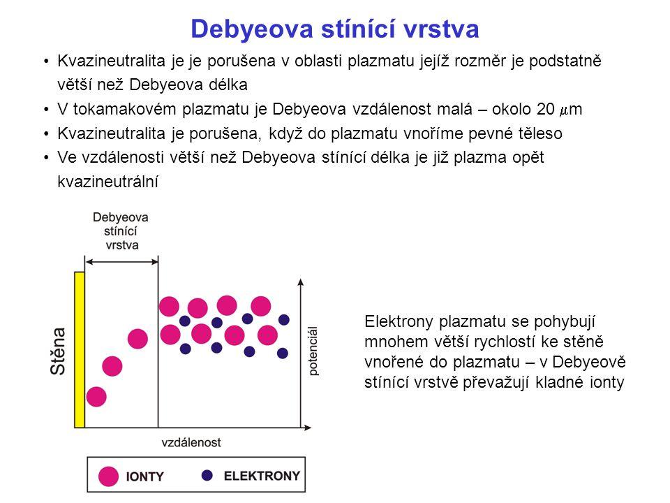 Kvazineutralita je je porušena v oblasti plazmatu jejíž rozměr je podstatně větší než Debyeova délka V tokamakovém plazmatu je Debyeova vzdálenost malá – okolo 20  m Kvazineutralita je porušena, když do plazmatu vnoříme pevné těleso Ve vzdálenosti větší než Debyeova stínící délka je již plazma opět kvazineutrální Debyeova stínící vrstva Elektrony plazmatu se pohybují mnohem větší rychlostí ke stěně vnořené do plazmatu – v Debyeově stínící vrstvě převažují kladné ionty
