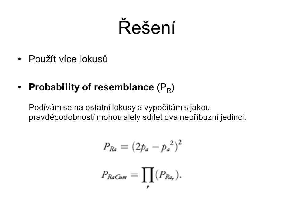 Řešení Použít více lokusů Probability of resemblance (P R ) Podívám se na ostatní lokusy a vypočítám s jakou pravděpodobností mohou alely sdílet dva nepříbuzní jedinci.
