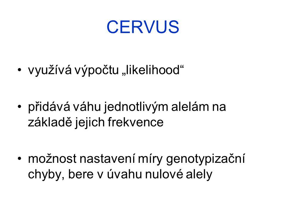 """využívá výpočtu """"likelihood přidává váhu jednotlivým alelám na základě jejich frekvence možnost nastavení míry genotypizační chyby, bere v úvahu nulové alely CERVUS"""