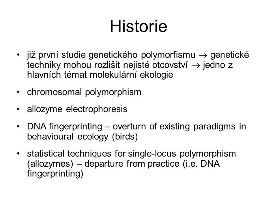 Historie 1 2 3 4 5 6 7 8 9 10 allozymes DNA fingerprinting, RAPD absence of theoretical models low variation multi-locus genotype
