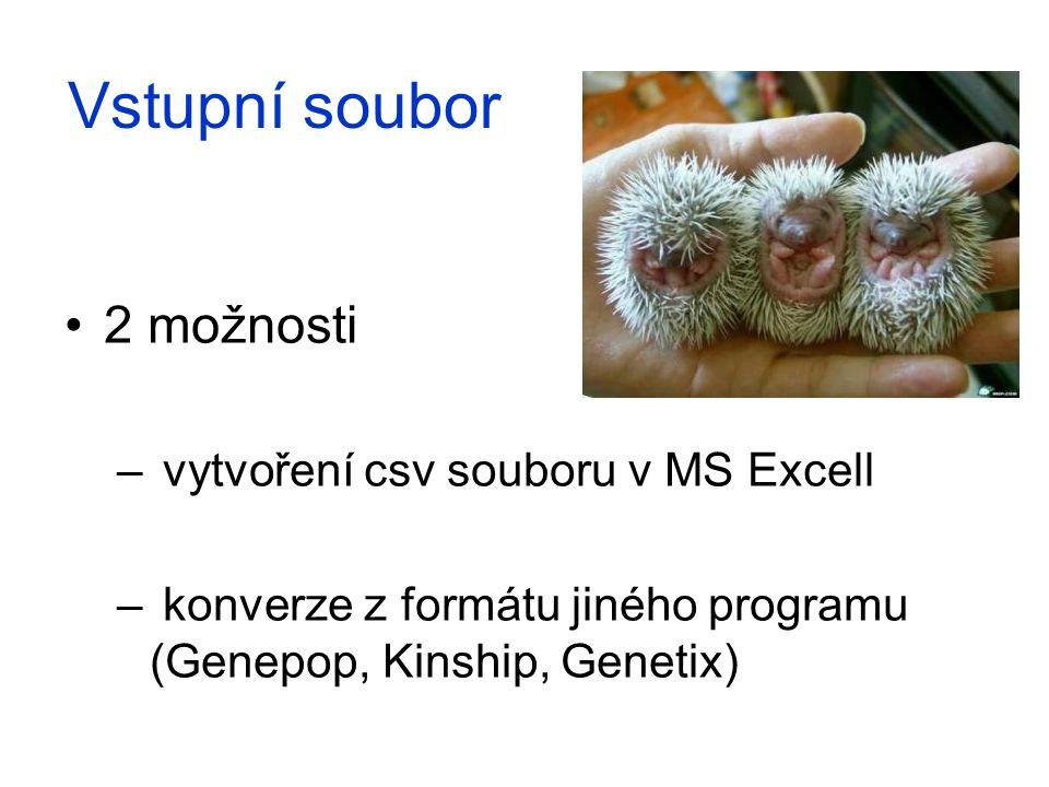 Vstupní soubor 2 možnosti – vytvoření csv souboru v MS Excell – konverze z formátu jiného programu (Genepop, Kinship, Genetix)