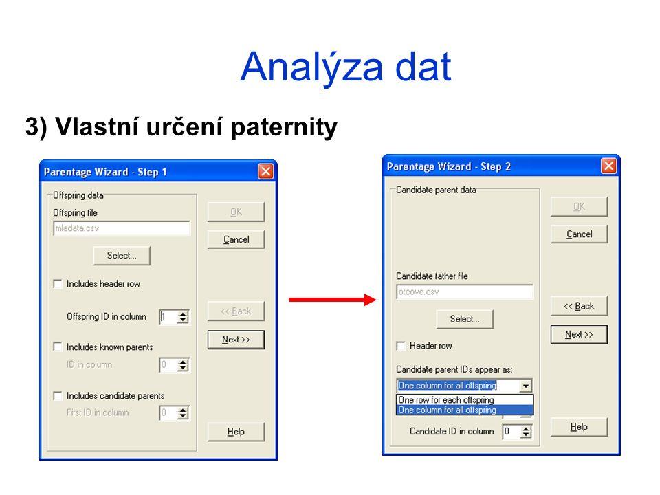 Analýza dat 3) Vlastní určení paternity