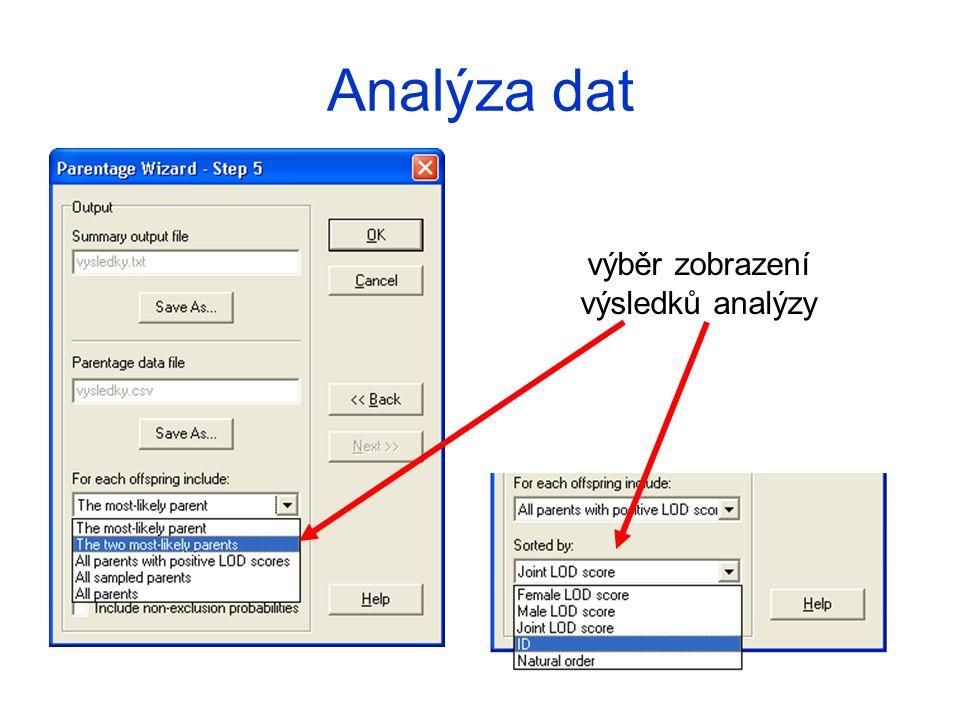 výběr zobrazení výsledků analýzy