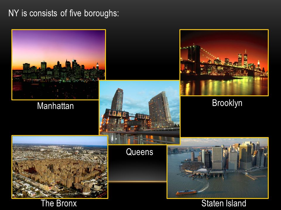 NY is consists of five boroughs: The Bronx Brooklyn Staten Island Queens Manhattan