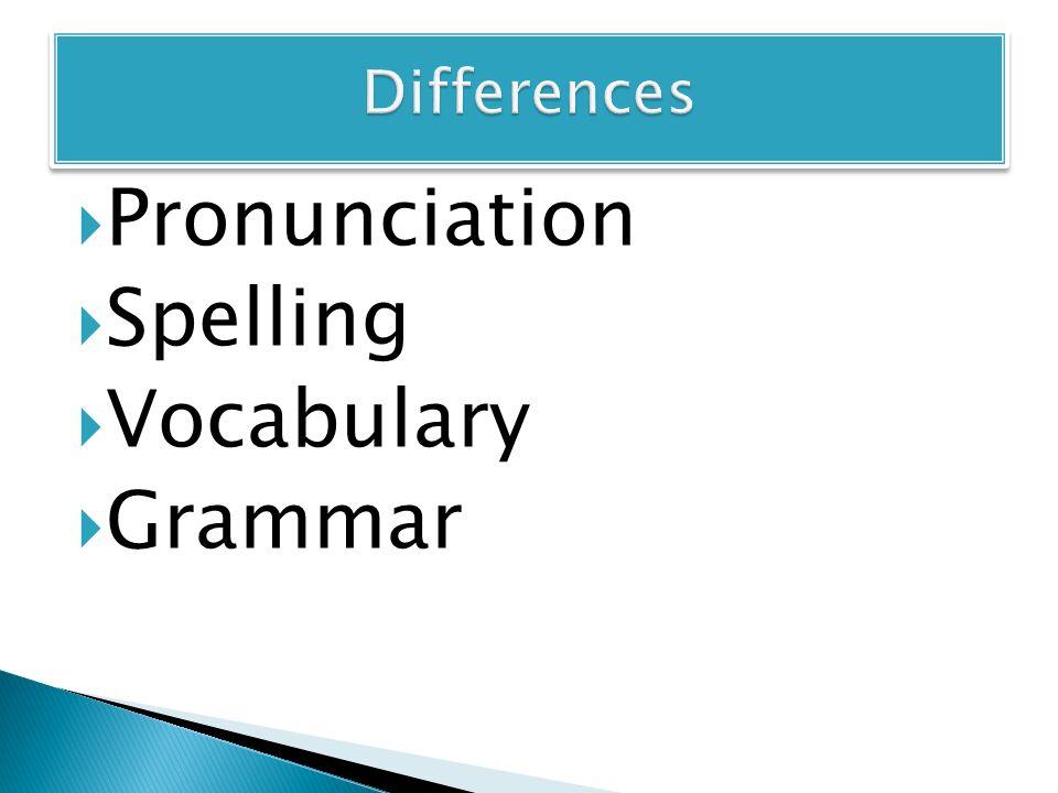  Pronunciation  Spelling  Vocabulary  Grammar