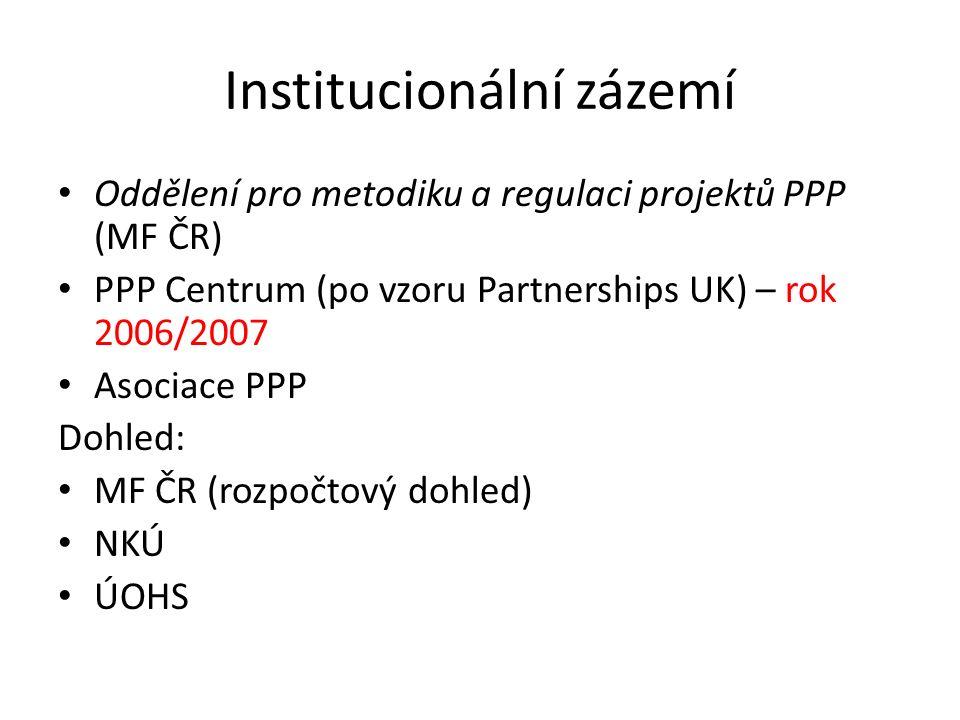 Institucionální zázemí Oddělení pro metodiku a regulaci projektů PPP (MF ČR) PPP Centrum (po vzoru Partnerships UK) – rok 2006/2007 Asociace PPP Dohle