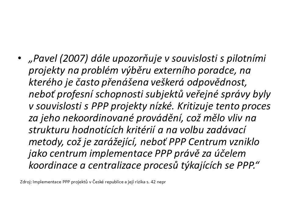 """""""Pavel (2007) dále upozorňuje v souvislosti s pilotními projekty na problém výběru externího poradce, na kterého je často přenášena veškerá odpovědnos"""