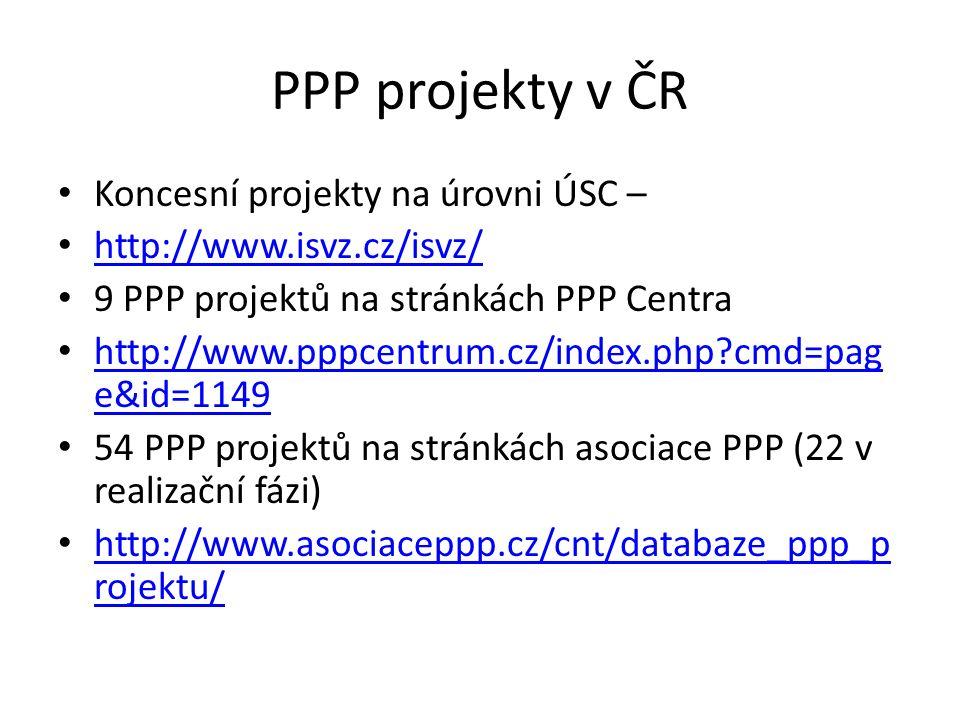 PPP projekty v ČR Koncesní projekty na úrovni ÚSC – http://www.isvz.cz/isvz/ 9 PPP projektů na stránkách PPP Centra http://www.pppcentrum.cz/index.php