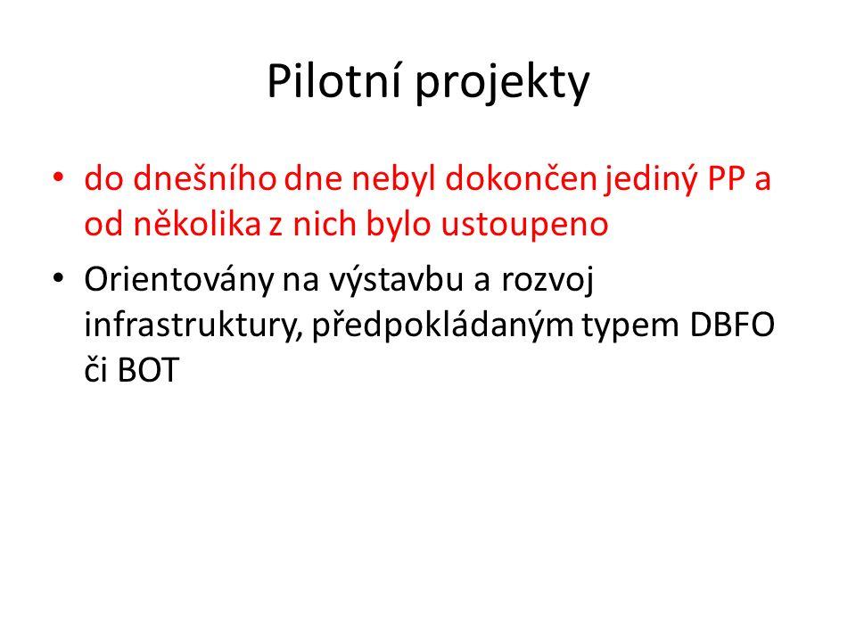Pilotní projekty do dnešního dne nebyl dokončen jediný PP a od několika z nich bylo ustoupeno Orientovány na výstavbu a rozvoj infrastruktury, předpok