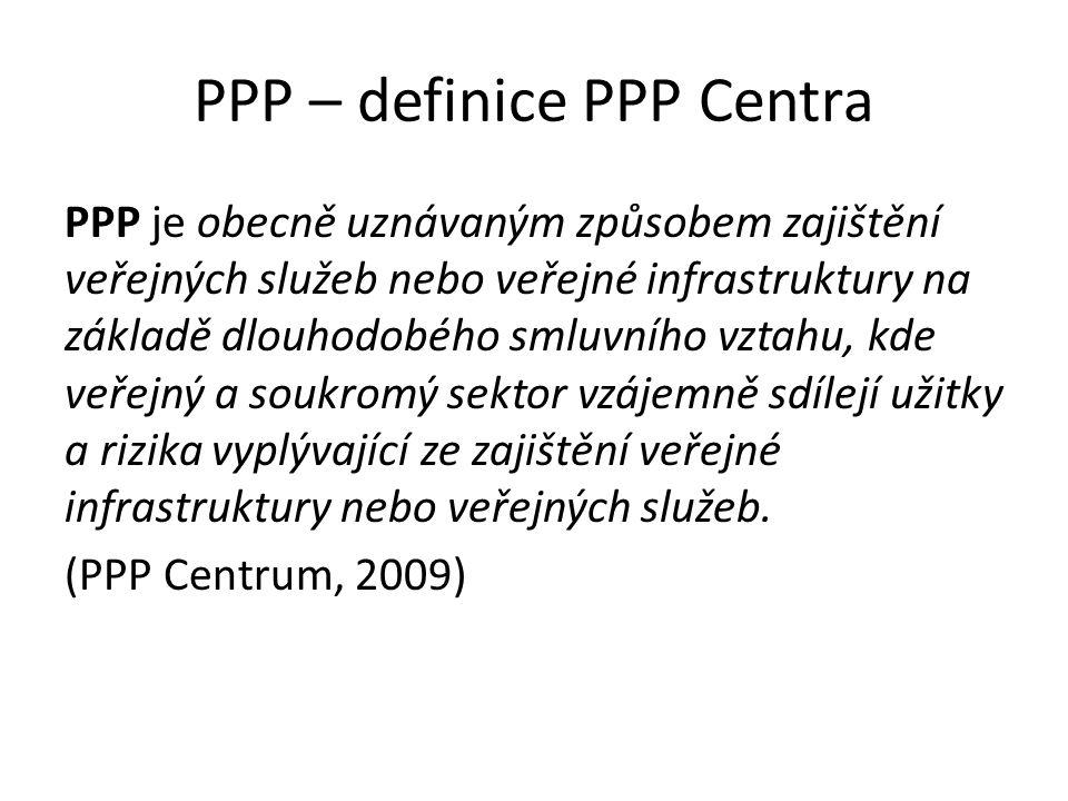 PPP – definice PPP Centra PPP je obecně uznávaným způsobem zajištění veřejných služeb nebo veřejné infrastruktury na základě dlouhodobého smluvního vz