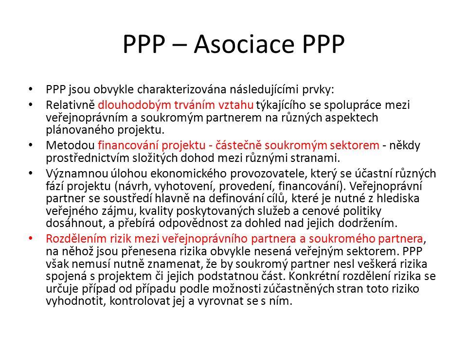 PPP – Asociace PPP PPP jsou obvykle charakterizována následujícími prvky: Relativně dlouhodobým trváním vztahu týkajícího se spolupráce mezi veřejnopr