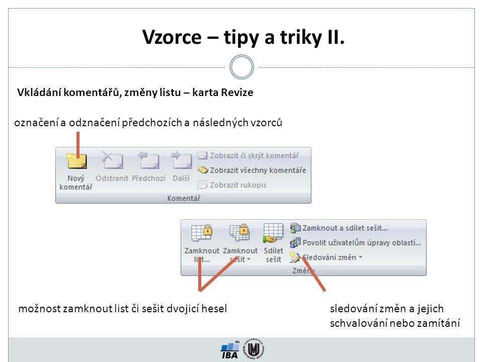 Vzorce – tipy a triky II.