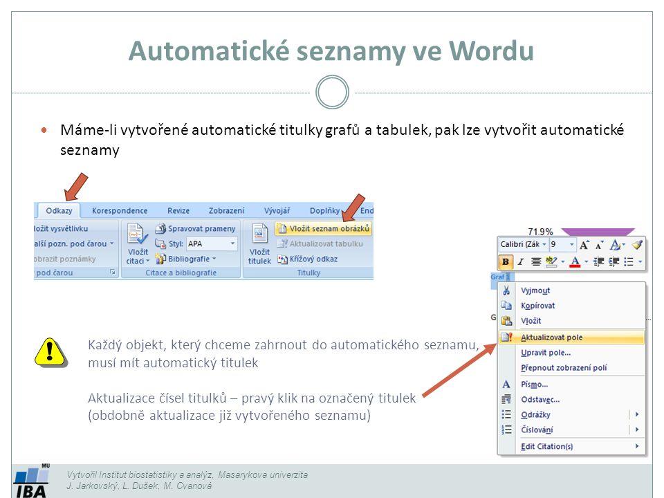 Automatické seznamy ve Wordu Vytvořil Institut biostatistiky a analýz, Masarykova univerzita J.