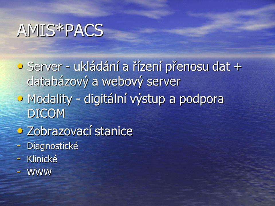 AMIS*PACS Server - ukládání a řízení přenosu dat + databázový a webový server Server - ukládání a řízení přenosu dat + databázový a webový server Modality - digitální výstup a podpora DICOM Modality - digitální výstup a podpora DICOM Zobrazovací stanice Zobrazovací stanice - Diagnostické - Klinické - WWW