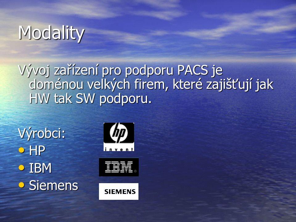 Modality Vývoj zařízení pro podporu PACS je doménou velkých firem, které zajišťují jak HW tak SW podporu. Výrobci: HP HP IBM IBM Siemens Siemens