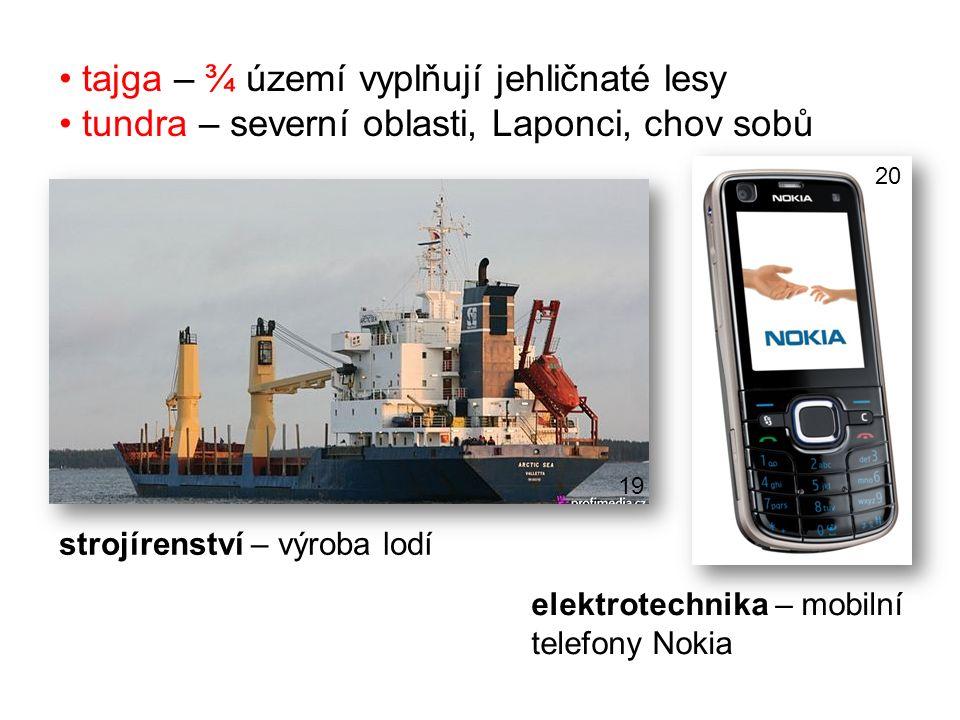 elektrotechnika – mobilní telefony Nokia strojírenství – výroba lodí tajga – ¾ území vyplňují jehličnaté lesy tundra – severní oblasti, Laponci, chov sobů 19 20