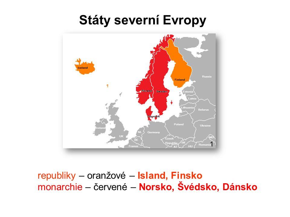 Charakteristické znaky států severní Evropy: členité Skandinávské pohoří, roviny při Baltském moři, sopečný ostrov Island chladné podnebí, dostatek srážek během roku patří k nejrozvinutějším státům světa řídké osídlení Laponsko permafrost