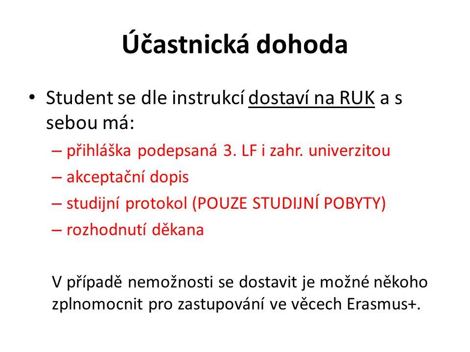 Účastnická dohoda Student se dle instrukcí dostaví na RUK a s sebou má: – přihláška podepsaná 3. LF i zahr. univerzitou – akceptační dopis – studijní
