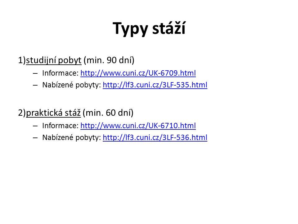 Typy stáží 1)studijní pobyt (min. 90 dní) – Informace: http://www.cuni.cz/UK-6709.htmlhttp://www.cuni.cz/UK-6709.html – Nabízené pobyty: http://lf3.cu