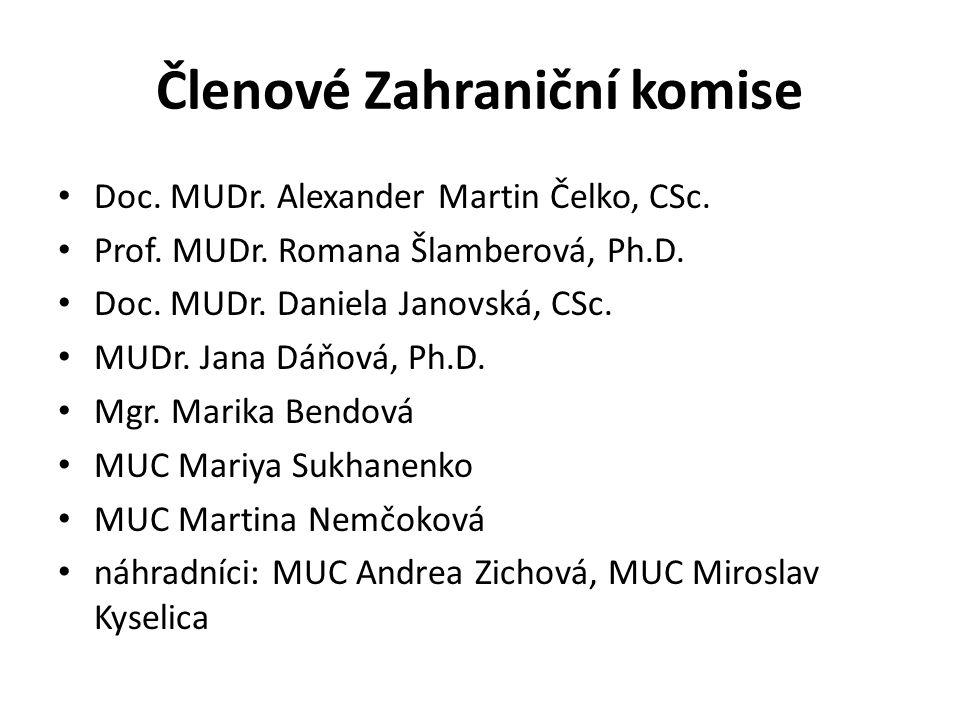 Členové Zahraniční komise Doc. MUDr. Alexander Martin Čelko, CSc. Prof. MUDr. Romana Šlamberová, Ph.D. Doc. MUDr. Daniela Janovská, CSc. MUDr. Jana Dá