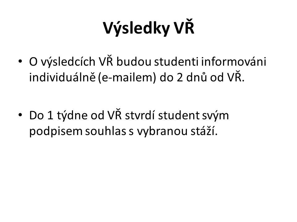 Výsledky VŘ O výsledcích VŘ budou studenti informováni individuálně (e-mailem) do 2 dnů od VŘ.