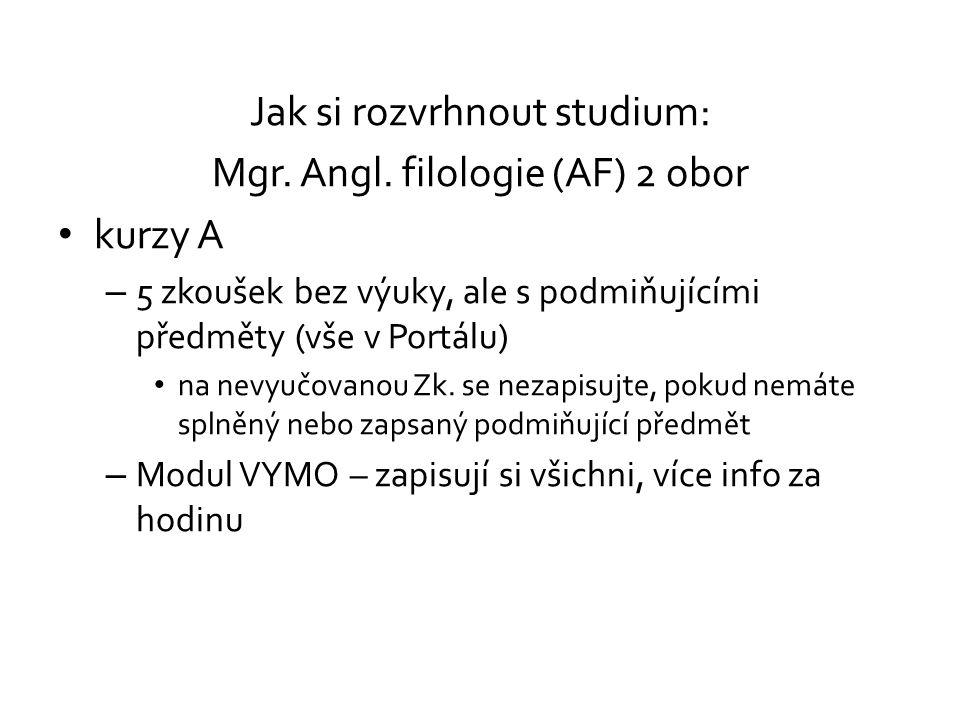 Jak si rozvrhnout studium: Mgr. Angl. filologie (AF) 2 obor kurzy A – 5 zkoušek bez výuky, ale s podmiňujícími předměty (vše v Portálu) na nevyučovano